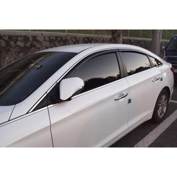 Ветровики с хром молдингом Hyundai Sonata LF 2014-2018